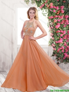 Pretty 2016 Empire Halter Top Prom Dresses with Brush Train