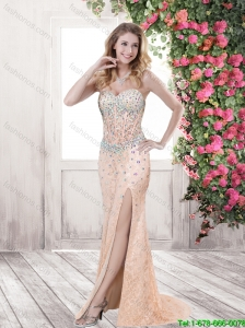 2015 Hot Sale Beaded and High Slit Prom Dresses with Brush Train