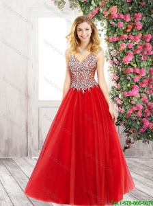 Best Selling Discount A Line V Neck Red Prom Dresses with Beading