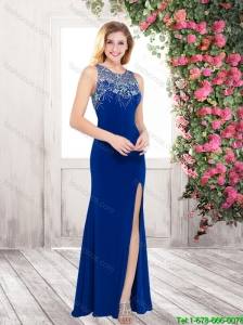 Gorgeous Exclusive New Style Column Scoop Beaded Prom Dresses with High Slit