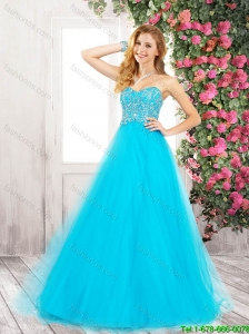 New Arrivals Elegant Sweetheart Lace Up Prom Dresses in Aqua Blue