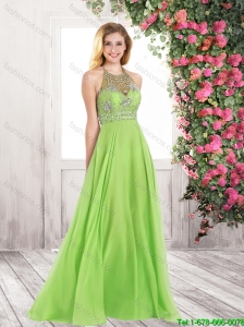 New Arrivals Popular Halter Top Beaded Prom Dresses with Brush Train