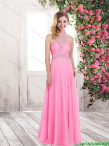 2016 Classical Luxurious Summer High Neck Rose Pink Long Prom Dresses with Beading