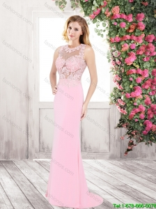 Cheap Lovely Discount Brush Train Appliques Prom Dresses in Rose Pink