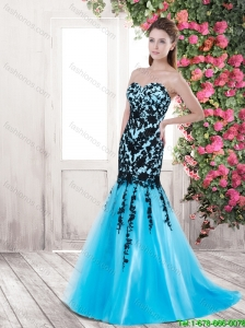 Cheap Lovely Gorgeous Mermaid Sweetheart Brush Train Prom Dresses with Appliques