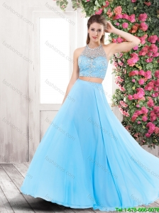 Cheap Lovely Popular Backless Brush Train Prom Dresses with Halter Top