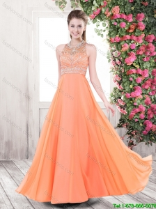 Classical Luxurious Orange Brush Train New Arrivals Prom Dresses with Beading