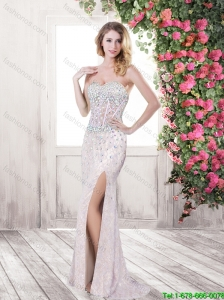 Exquisite Latest Best Selling Column Sweetheart Prom Dresses with Brush Train