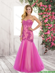 Exquisite Latest Elegant Mermaid Laced and Beaded Prom Dresses with Brush Train
