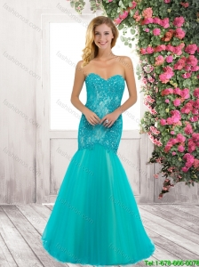 Exquisite Latest Luxurious Mermaid Brush Train Laced Prom Dresses with Beading