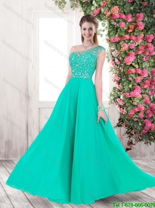 Gorgeous Exclusive Discount One Shoulder Beaded Prom Dresses with Brush Train