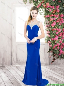 Perfect Pretty Classical Column Scoop Prom Dresses with Beading for 2016