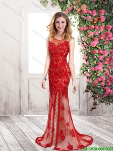 Perfect Pretty Elegant Column Scoop Prom Dresses with Slit and Appliques