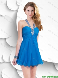 Beautiful Elegant Discount Cheap Lovely Short Criss Cross Halter Top Prom Dresses with Beading