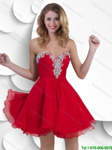 Classical Luxurious Gorgeous Exclusive Short Sweetheart Red Prom Gowns with Beading