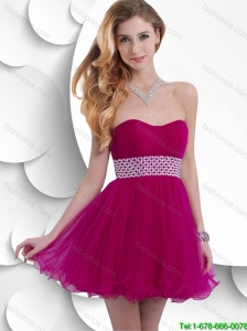 Exquisite Latest Best Selling A Line Ruched Fuchsia Prom Dresses with Beading