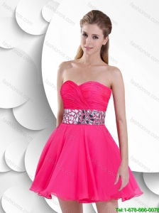 Gorgeous Exclusive Popular Beaded Sweetheart Prom Gowns in Hot Pink