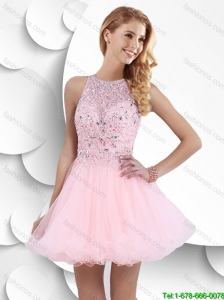 Hot Sale Fashionable High Neck Open Back Prom Dresses with Beading