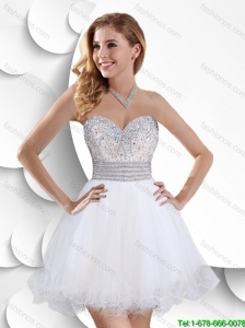 Hot Sale Latest A Line Beaded White Prom Dresses with Mini Length