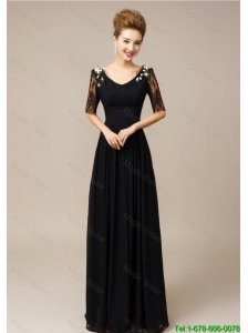 2015 Gorgeous Half Sleeves Laced Black Prom Dresses with V Neck