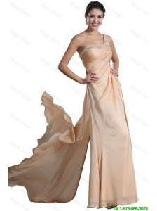 Fashionable Empire Beaded and Ruched Prom Dresses in Champagne