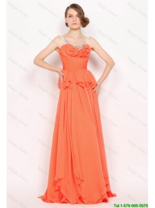 New Arrivals Beaded Brush Train Prom Dresses in Orange Red 2016