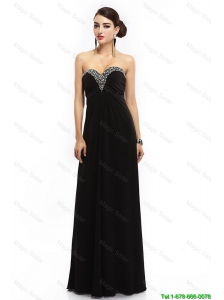 New Style Sweetheart Beaded Black Prom Dresses with Lace Up