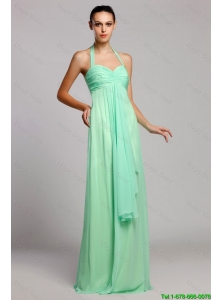 Popular Halter Top Brush Train Prom Dresses with Ruching