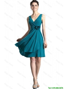 Pretty 2016 Teal V Neck Prom Gown with Hand Made Flowers