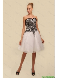 2015 Gorgeous White and Black Prom Dresses with Appliques
