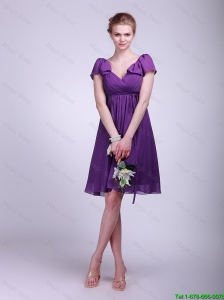 Brand New Short V Neck Ruching Purple Cap Sleeves Prom Dresses for 2016