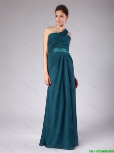 Elegant One Shoulder Teal Prom Dresses with Ruching 2015