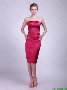 Fashionable Strapless Knee Lengt Prom Gowns in Wine Red 2015
