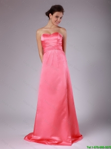 Luxurious Ruching Brush Train Prom Dresses in Watermelon Red