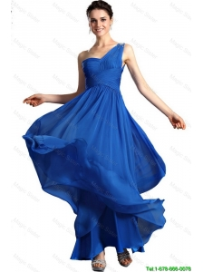 Popular Blue Empire One Shoulder Prom Dresses with Ankle Length