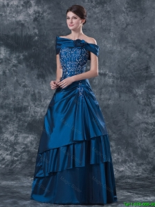 2015 Gorgeous Strapless Navy Blue Prom Dresses with Brush Train