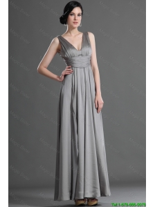 Beautiful V Neck Ruching Taffeta Prom Dress in Grey for 2016