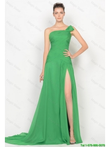 Cheap High Slit One Shoulder Prom Dresses with Brush Train