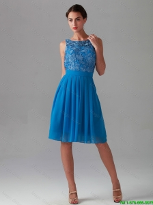 Beautiful Empire Bateau Blue Prom Dresses with Lace