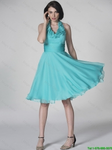 The Super Hot Halter Top Turquoise Prom Dresses with Ruffles and Belt