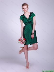 Gorgeous V Neck Short Sleeves Prom Gowns in Hunter Green