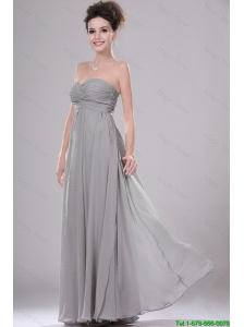 Most Popular Chiffon Grey Prom Dresses with Ruching for 2016
