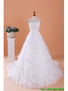 Custom Made A Line Sweetheart Wedding Dresses with Appliques
