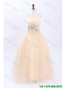 Perfect A Line Strapless Wedding Dresses with Appliques