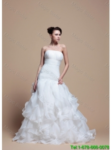 Elegant A Line Strapless Wedding Dresses with Ruffles