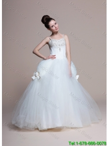Perfect A Line Straps Beading Wedding Dresses with Bowknot