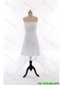 Perfect Beading and Hand Made Flowers Short Wedding Dresses with Court Train