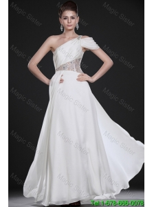 Remarkable One Shoulder Beading Long Wedding Dresses