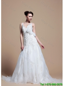 Romantic A Line V Neck Wedding Dresses with Hand Made Flowers