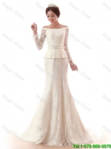 The Super Hot Court Train Lace White Wedding Dresses with Beading